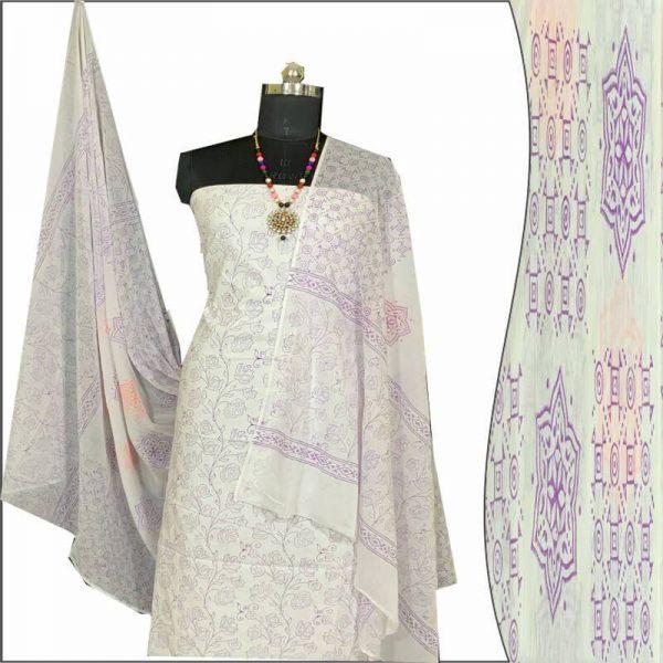 Block Print Salwar Suit (White And Purple)