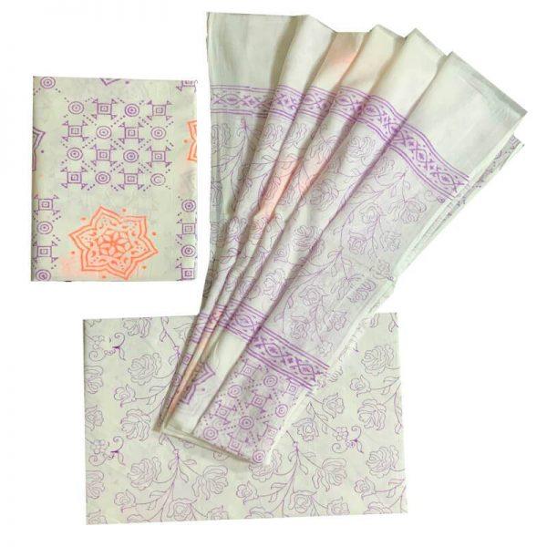 Block Print Salwar Kameez (White And Purple)