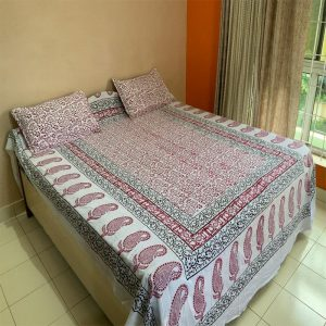 Block White (Red & Green) Bedsheet