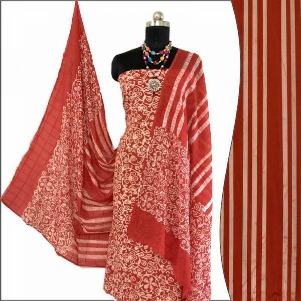 Batik Print Vermilion Red Unstitched Salwar Suit Fabric- 100 % Cotton/ बाटिक प्रिंट सलवार सूट