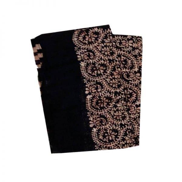 Batik Print Black Unstitched Salwar Suit