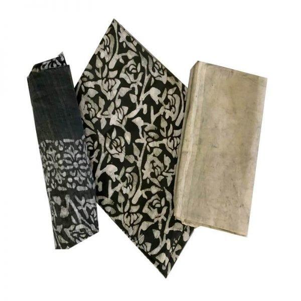Batik Print Olivine Green Unstitched Salwar Suit Dress Material