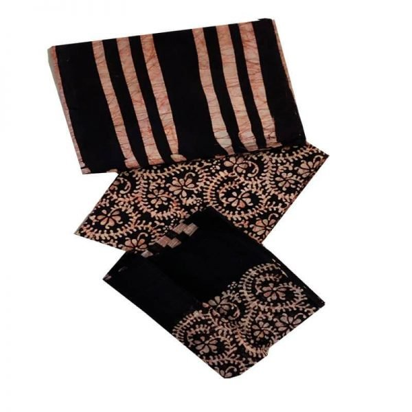 Batik Print Black color Unstitched Salwar suit material set