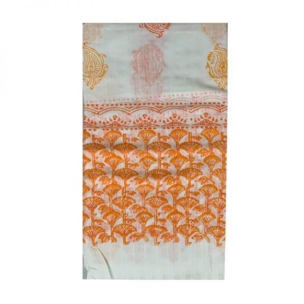 Block Print Salwar Kameez (White & Light Orange)