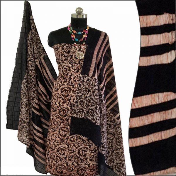 Batik Print Black color Unstitched Salwar Suit Fabric- 100% Cotton / बाटिक प्रिंट सलवार सूट