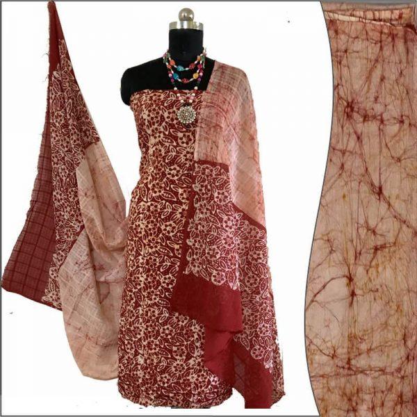 Batik Print  Red Brown Ivory Unstitched Salwar Suit Fabric-100% Cotton / बाटिक प्रिंट सलवार सूट