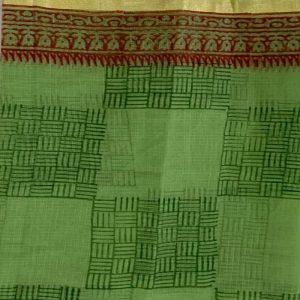 Kota Doria Green & Orange Kurta Fabric