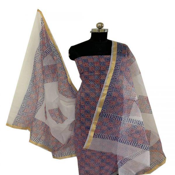 Kota Doria Unstitched Red & Blue Kurta and Dupatta with Bottom Salwar suits