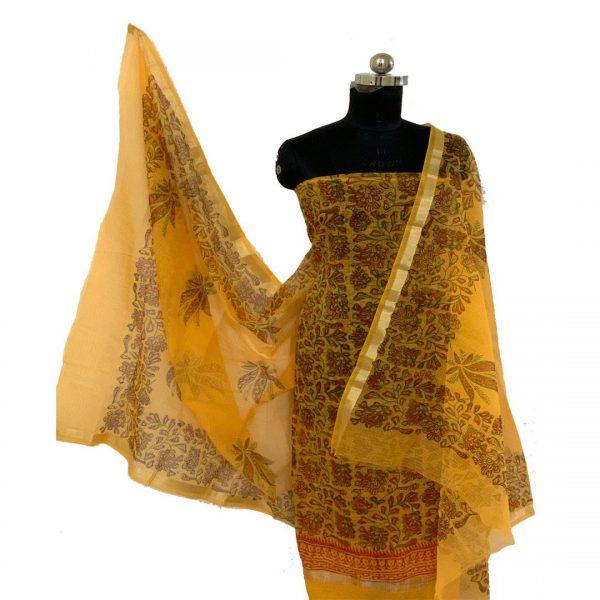 Kota Doria Yellow Unstitched Kurta & Dupatta Fabric (With Bottom)