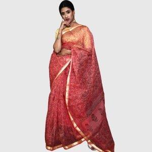 Handloom Kota Doria Sarees Red Color