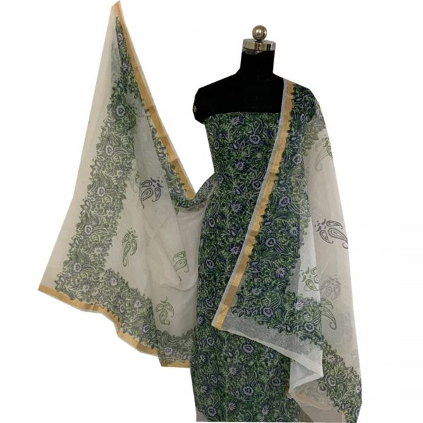Kota Doria Green & blue Unstitched Kurta And Dupatta Fabric (with Bottom)