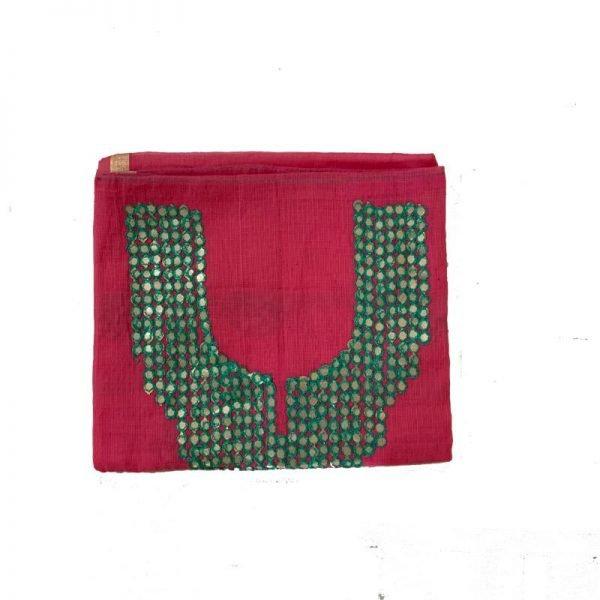 Kota Doria Premium Unstitche Light Pink & Green Suit-Dupatta Fabric - 100 % Cotton