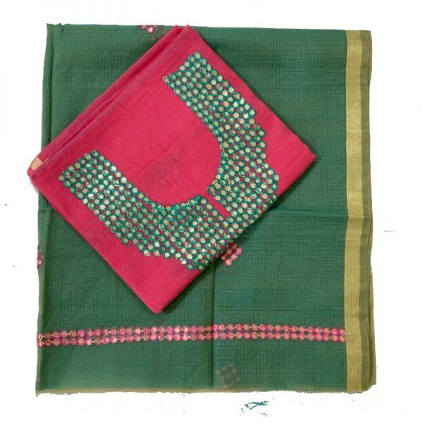 Kota Doria Premium Unstitche Light Pink & Green kurta & Dupatta कोटा डोरिया कुरता-दुपट्टा सूट