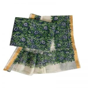 Kota Doria Green & blue Unstitched Kurta And Dupatta Fabric set