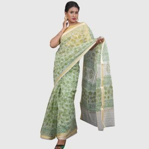 Kota Doria Sarees Off-White & Mehendi Colour