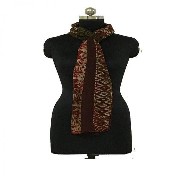 Hand Batik Print Chocolate  Premium Stole