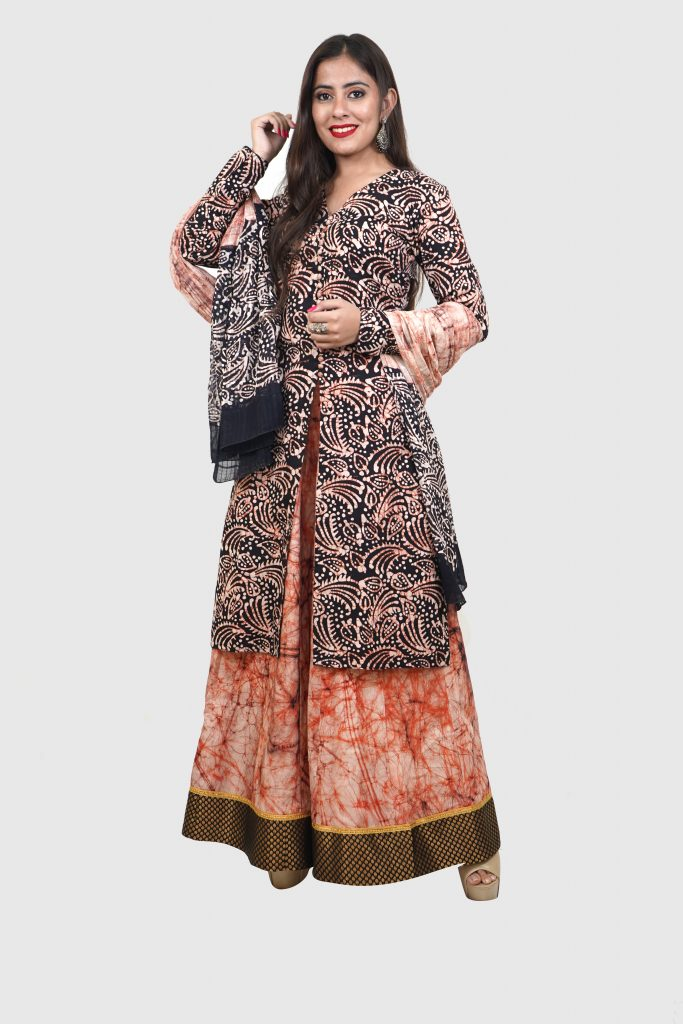 Batik Print unstitched Brown Salwar Suit