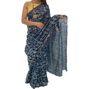 Chanderi Silk Cotton Blue Sarees