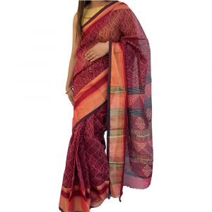 Maheshwari Silk Cotton Block print Red Sarees
