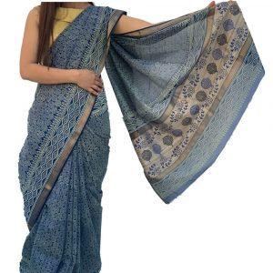 Maheshwari Silk Cotton Block print Blue Sarees