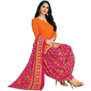 Patiala Orange and Pink Stitched Salwar Suit