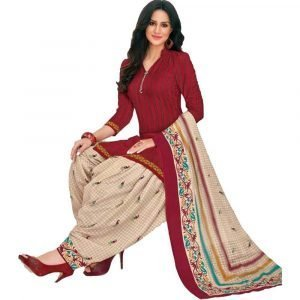 Patiala Red and off-white Stitched Salwar Suit