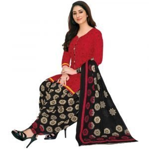 Patiala Red and Black Stitched Salwar Suit