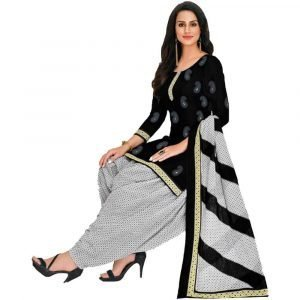 Patiala Black and White Stitched Salwar Suit