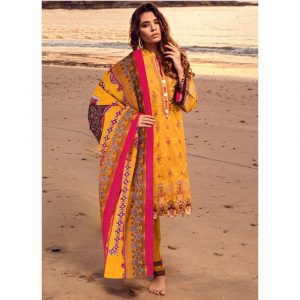 Pure Lawn yellow Stitched Salwar Suit with Malmal Dupatta