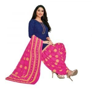 Patiala Blue and Pink Stitched Salwar Suit