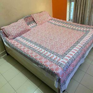 Block Print White Double Bedsheet