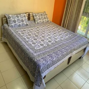 Block Print White and Blue Double Bedsheet